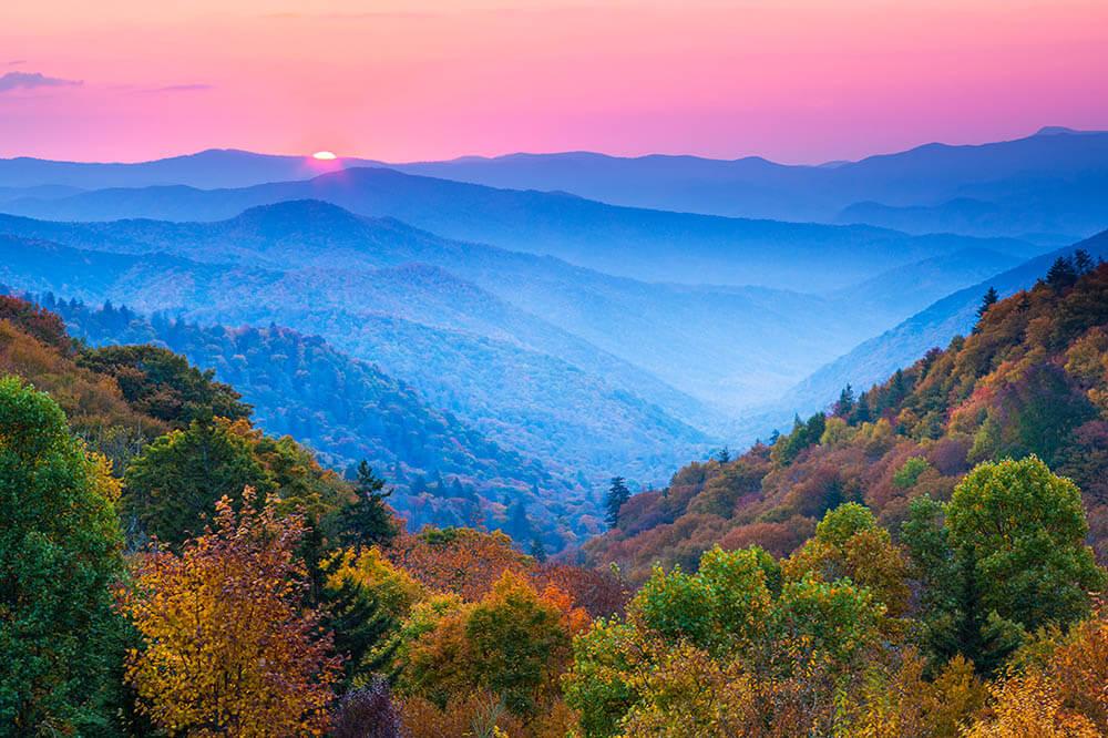 Sunrise over the Appalachia Mountains